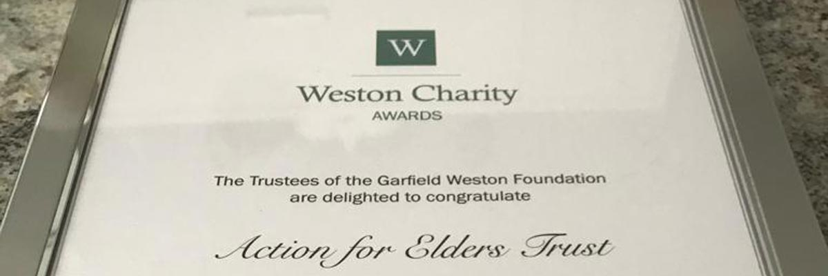 Weston charity awards certificate