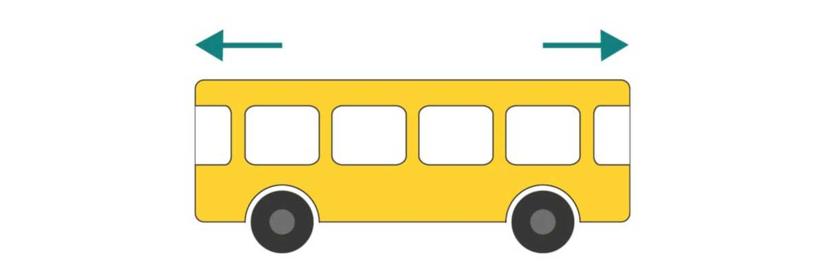 picture of bus moving but in which direction?
